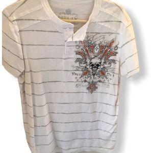 NWOT Helix striped men's shirt L skull